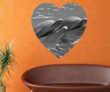 Dolphins black white Mural Fish in Sea Wall Heart Animals Sticker 11D277