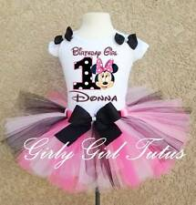 Baby Girl Minnie Mouse 1st 2nd Black Pink Polkadot Birthday Tutu Outfit
