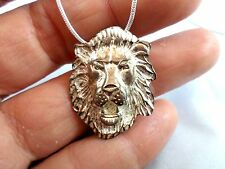 "Vintage Male Lion's Head Sterling Silver Pendant with 26"" Sterling Snake Chain"