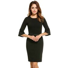 New Women Casual O-Neck Three Quarter Flare Sleeve Solid Dress WT8801
