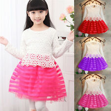Kids Toddlers Baby Girls Princess Party Long Sleeve Lace Crochet Tutu Dress 2-7Y