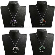 Tree of Life Owl Wire Wrapped Gemstone Heaing Pendant Necklace for Mother's Day