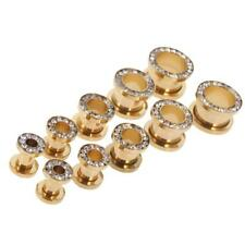 Gold Stainless Steel Flared Ear Plugs Hollow Expander Stretcher Tunnels Piercing