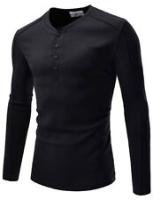 (NKTE7003) TheLees Mens Slim Fit Henley Neck Stretchy Waffle Airy Tshirts