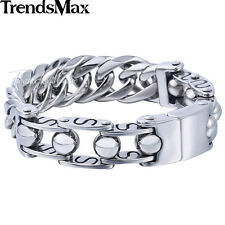 22mm Mens 316L Stainless Steel Silver Tone Curb Cuban Chain Bracelet Bangle