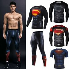 Men Superman Compression T-shirt Legging Pants Sport Gym Jersey Training Outfit