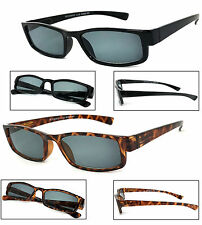 Retro Rectangular Smoke Lens Sun Reader Reading Sunglasses Spring Temples UV400