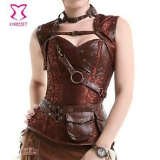 Latex Gothic Clothing Sexy Brown Steel Bone Corset Steampunk Waist slimming Cors