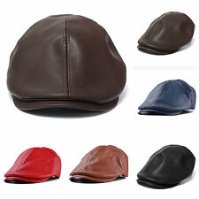 Men Newsboy Cabbie Flat Cap Panel Baker Boy Hat Leather Ivy Cap Beret Gatsby Cap