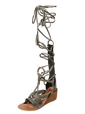 Free People SALTARELLO Festival/Faire/Boho Grey Suede Gladiator Wedge Sandal