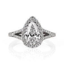Pear Cut Certified Halo Diamond Engagement Ring 2.3 TCW 14K White Gold Enhanced