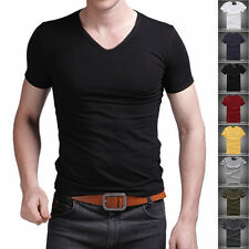 New Men's V Neck Tops Tee Shirt Slim Fit Short Sleeve Casual Solid Color T-Shirt