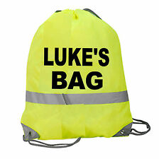PERSONALISED GYM BAG HI VIZ VIS DRAWSTRING GAMES SPORTS PE SWIM SCHOOL NAME SAFE