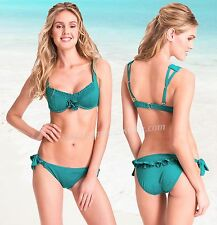 $196 Betsey Johnson French Pastry Underwire Top & Tie Bottom Swimsuit Bikini Set