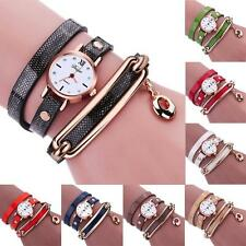 Women's Dancers Charm Wrap Around Leather Quartz Wrist Watch Bracelet Jewelery