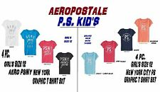 NEW GIRLS 4PC AEROPOSTALE PS KIDS GRAPHIC T SHIRT SHORT SLEEVE SET PS PSNY AERO