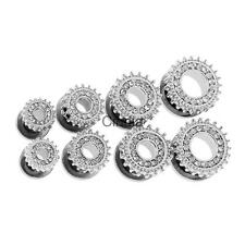 1 Pair 316L Stainless Steel Full Crystal Rimmed Screw Fit Ear Plug Flesh Tunnel