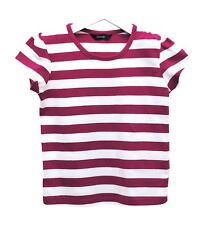 Girls Ex George T-Shirt Top Cotton Violet White Stripes Age 4 to 12 Years Kids