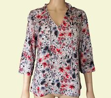 New Ex M&S Ladies Pink & Red Floral Tie Neck Casual Summer Top Size 10 - 24