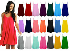 Ladies Womens Plain Sleeveless Flared Cami Strappy Dress Top Sizes UK 8-28 •