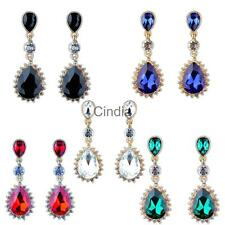 Luxury Women Bridal Crystal Teardrop Diamante Dangle Earrings Wedding Prom Gifts
