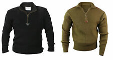 Military Style Sweater 1/4 ZIP V-Neck US Army Navy Marine Corps Commando Seals