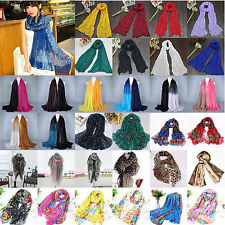 Women Soft Chiffon/Voile Printed Long Scarf Wrap Ladies Shawl Stole Silk Scarves
