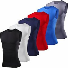 Mens Compression Base Layer Gym Sports Vest Sleeveless Tights Tank Tops T-shirt