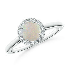 Cathedral Round Opal Diamond Halo Ring 14k White Gold / Platinum Size 3-13