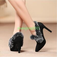 Womens Sexy High Slim Heels Pull On Fur Pointy Toe Suede Shoes Fashion Pumps New