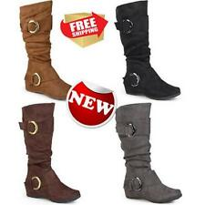 Brinley Co. Womens Buckle Accent Slouchy Mid Calf Boots Outdoor Fashion Wear New