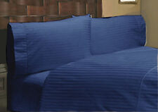 1200 TC Egyptian Cotton UK-Emperor Size Select Bedding Items Navy Blue Striped