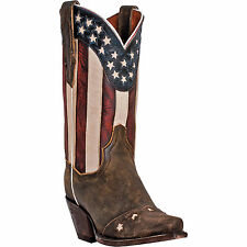 Dan Post Womens Brown Leather Lady Liberty Flag Patriotic Cowboy Boots