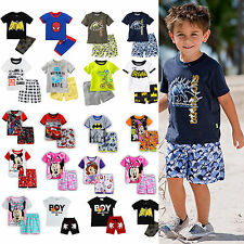 Baby Kids Boys 2Pcs T-shirt Pants Cartoon Outfits Sleepwear Pyjamas Pajamas Set