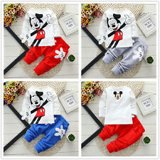 2Pcs Baby Boys Girls Mickey Mouse Tops + Pants Set Kids Casual Clothes Outfits