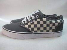 Mens Vans Atwood Checkers Low Canvas Shoes Grey White Lace Up Trainers