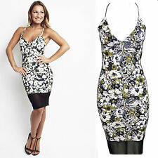 Womens Celeb Style Sam Faiers Cami Strappy Floral Bodycon Midi Mini Mesh Dress