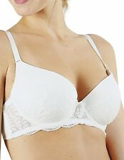 Guy De France White Push Up Underwired Padded Bra with Lace (67922) [UK]