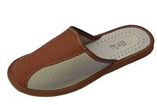 Mens Buffalo Leather Handmade Mules Slippers Sandals Brown Slip On All Size New