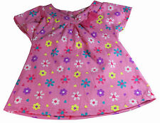 Girls Top T-Shirt Pink Floral NEW Short Sleeved Baby Ages 6-18M 2-3Y Cotton