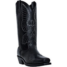 Laredo Mens Black Leather Gainesville Square Toe Bird Cowboy Boots