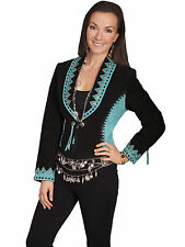 Scully Leather Womens Studded Two-Tone Boar Suede Tassel Tie Jacket Black