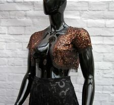 BRONZE SEQUIN CAP SLEEVE  SHRUG / BOLERO / COVER UP SIZE 10,12