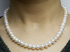 Freshwater Pearl 8 mm - 10 mm 19 inch Necklace with Sterling Silver Heart Clasp.