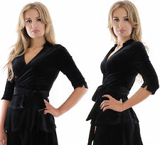 Elegant Evening Top Blouse Wrap Style Black Velvet Stretchy by MontyQ