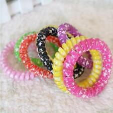 Women Telephone Line Hair Ring Bands Ties Rope Accessories Random Color