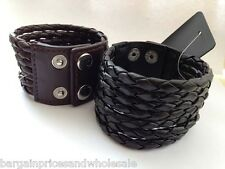 7 Layers Cuff Black/Brown Leather Braided Wristband Bracelet Bangle