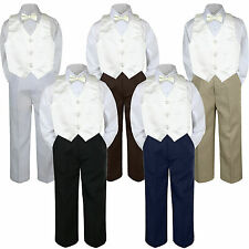 4pc Boy Suit Set Ivory Off white Bow Tie Vest Baby Toddler Kid Formal Pants S-7