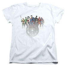 Justice League Heroes CIRCLE CREST Licensed Women's T-Shirt All Sizes