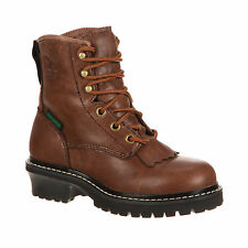Georgia Little Kid Boys Brown Goat Leather Logger WP Work Boots